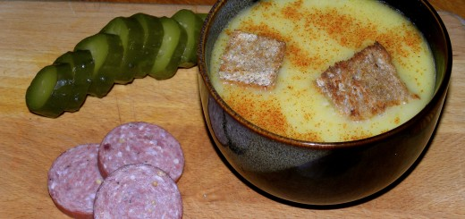 An excellent light lunch, served with salami and a kosher dill pickle.