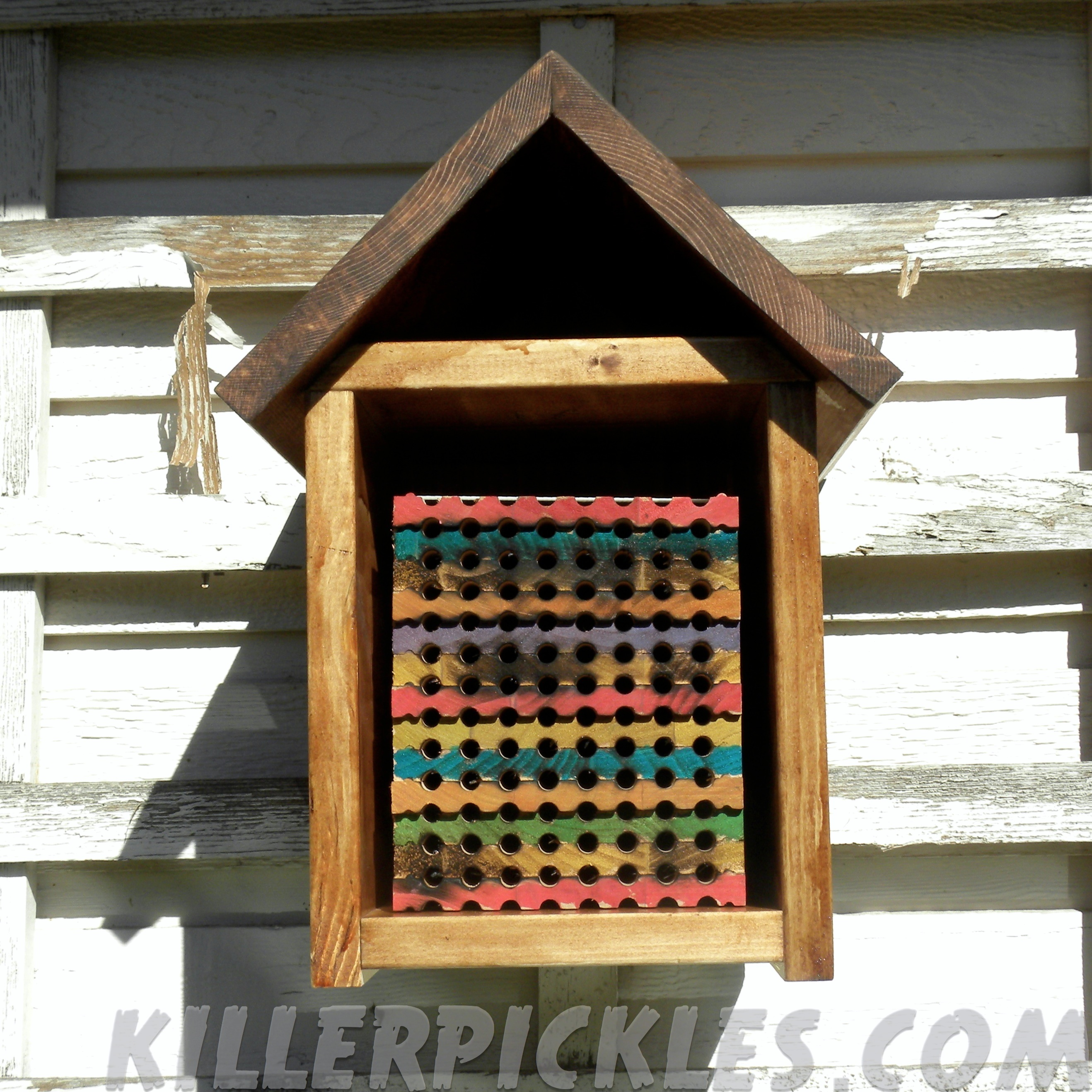 mason bee house with stacking trays